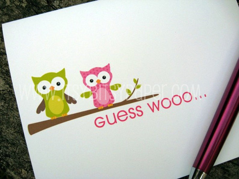 Personalized Note Cards Whimsical Owls Set of Stationery image 0