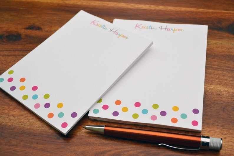 Personalized Notepads  Personalized Colorful Dots Notepads  Personalized Notebook  Personalized Note Pads Note pads   Set of 2 Notepads