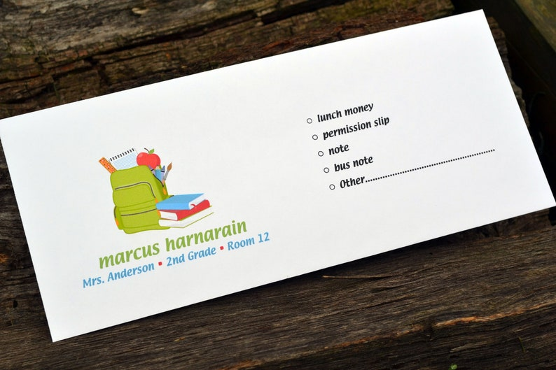 Personalized School Money Envelope for Money and image 0