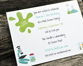 Kids Science Birthday Party Invitations / Kids Science Party Invite / Science Party Invitations / Science Party