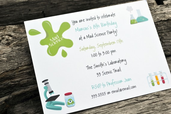 kids science birthday party invitations kids science party etsy