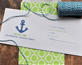 Personalized School Money Envelope for Money and Notes - Boys Anchor Design - Personalized School Envelopes - Boys Preppy Anchor Envelope