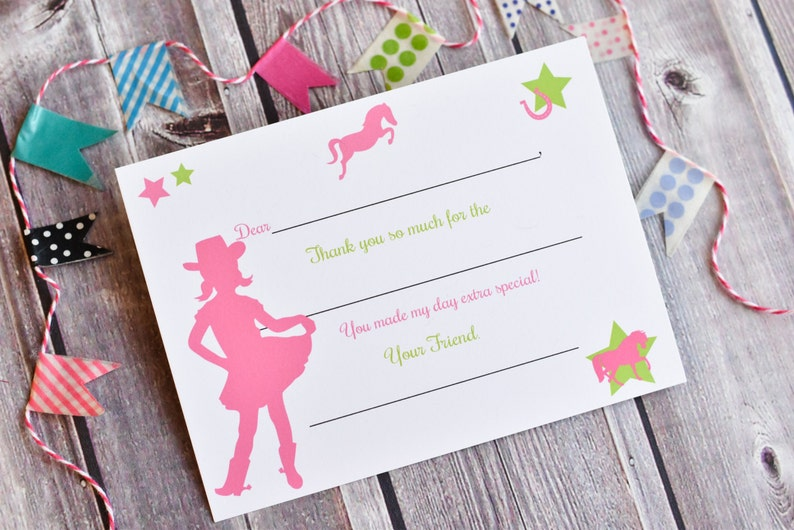 Kids Fill In the Blank Thank You Notes / Cowgirl Thank You image 0