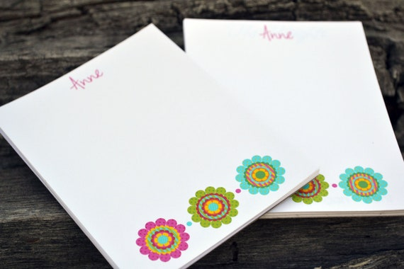 personalized notepads personalized flower notepads etsy