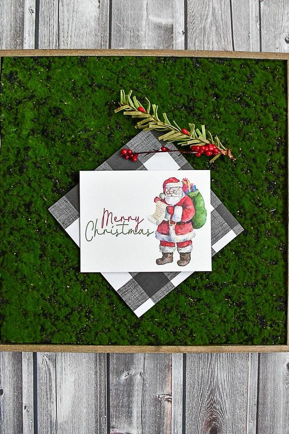 Watercolor Santa Claus Christmas Cards / Holiday Santa Cards / | Etsy
