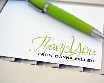Thank You Notes / Personalized Stationery / Personalized Stationary / Personalized Note Cards / Stationery Set - Fancy Script Thanks