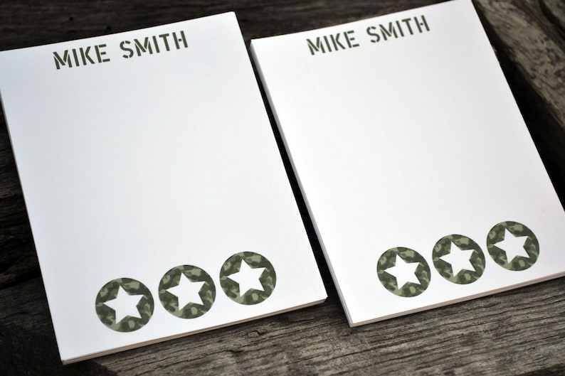 Personalized Boys Army Notepads /Personalized Notebook / image 0