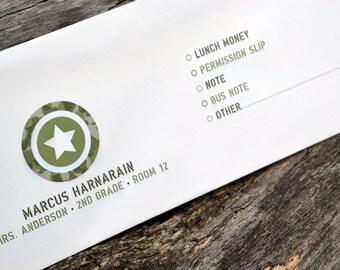 Personalized School Money Envelope for Money and Notes - Army Camo Design - Personalized School Envelopes - Boys Army Envelopes
