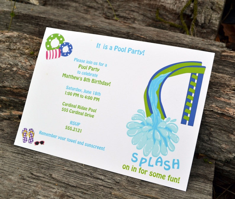 Boys Pool Party Invitation / Pool Party Invitation / Pool image 0