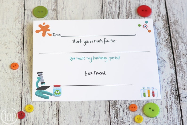 Kids Science Thank You Notes Fill In The Blank / Science Party image 0