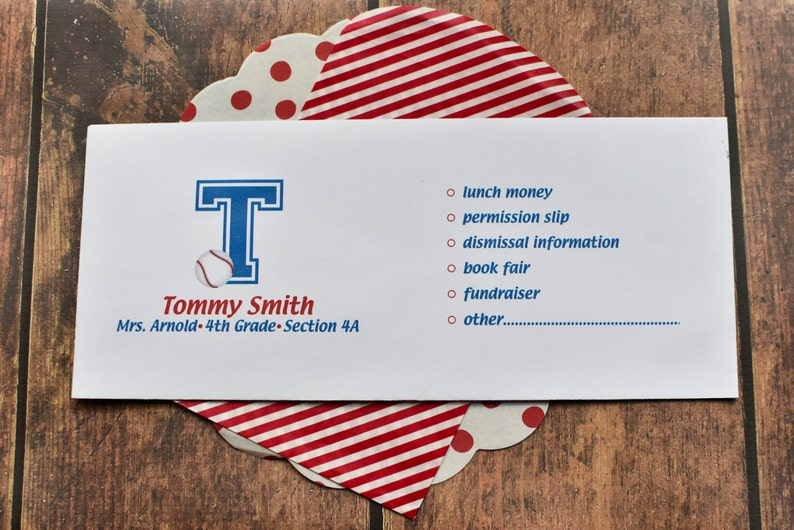 Personalized School Money Envelope for Money and Notes  image 0