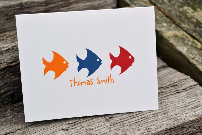 Kids Personalized Note Cards Stationery Fish Design image 0