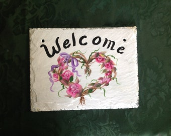 7x9 READY to SHIP Roses Slate welcome sign garden sign, small welcome sign, nursing home gift sign, outdoor sign