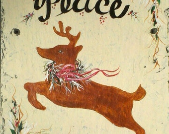 READY SHIP Hand Painted Outdoor Slate Winter Welcome Sign Christmas, DEER sign, Peace sign 10 x 12