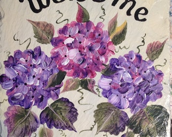 Pink Purple hydrangeas Hand painted Slate Welcome Sign, outdoor sign, mothers day mom gift, new slate, floral decorative sign