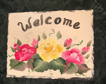 7x9 READY to SHIP Roses Slate welcome sign sign garden sign