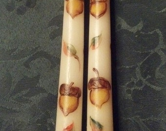 ACORNS 10 inch dinner candle taper  candles, hand painted taper candles