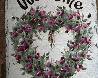 READY TO SHIP 8x10  Painted Slate Sign Roses Heart Wreath Valentines Day decoration Outdoor hanging slate welcome sign, vine wreath mother's