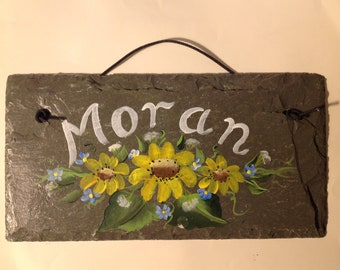 YOUR NAME Slate sign DAISIES, Roses, or other flowers, hand painted welcome sign flowers sign, Nursing home sign