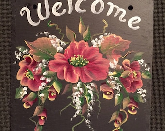 Hand Painted Slate Welcome Sign Wild Roses slate welcome sign, choose size, background and personalization, hanging outdoor slate, porch