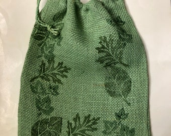 Decorative Drawstring Burlap Gift Bag, green ivy and leaves hand painted , no two exactly alike