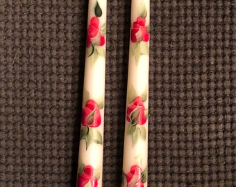 Hand painted Red Coral Roses taper candles candles, decorative ivory or white roses Valentines day table Decoration, 10 inch
