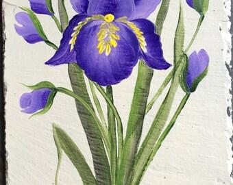 Hand Painted Slate Welcome Sign Purple Iris Spring slate Sign
