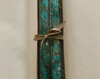 Set of 2 tapers, Turquoise brown and cream hand painted marbled taper candles, 12 inch tapers