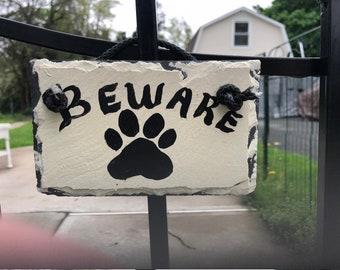 Hand Painted Handpainted Beware of Dog sign