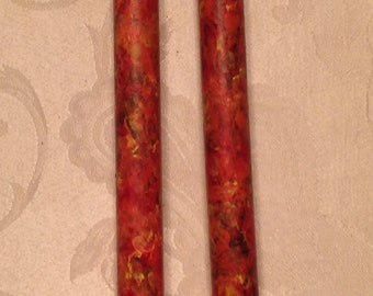 hand painted fall TAPER CANDLES marbled autumn pumpkin orange colors Thanksgiving candles, Thanksgiving decorations, halloween decorations