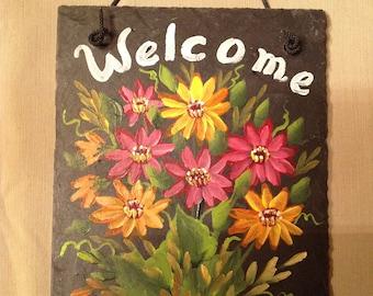 Hand Painted Slate Welcome Sign Gerbera Daisies, Personalized sign, Gerber Daisies slate sign