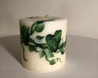 Choose 3,6,8 inch Hand Painted Decorative Pillar or Floating candle, earthy green vines, table decorations, centerpiece