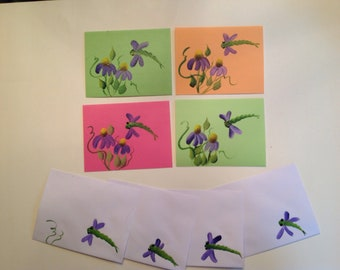 Small Hand Painted NOTE CARDS, set of 4 dragonfly coneflowers with design on envelopes. 41/2 x 5 1/2