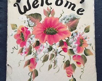 WILD ROSES, Slate Welcome Sign, hand painted hanging outdoor porch front door decor