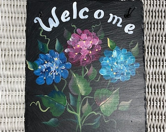 8x10 READY to SHIP Blue, Burgundy and  Teal Slate Welcome Sign
