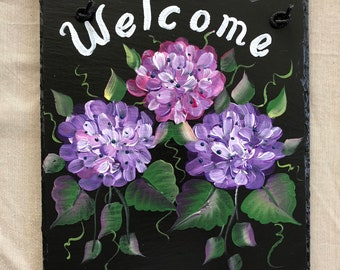 PERSONALIZED option Outdoor Slate Welcome Sign Pink and Purple HYDRANGEAS welcome sign Choose background colors  and size
