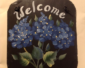 READY SHIP 10 X 12  Hand painted Slate Welcome Sign Blue Hydrangeas, Outdoor sign, UV resistant blue hydrangeas sign, Teresa Moran painted