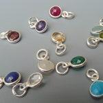 Silver Birthstone Charm,Bezel Gemstone,Add On Charm,Tiny Necklace Charm,Earring Charms,Bezel Charm, Birthstone Jewelry,Birthday Gift For Her