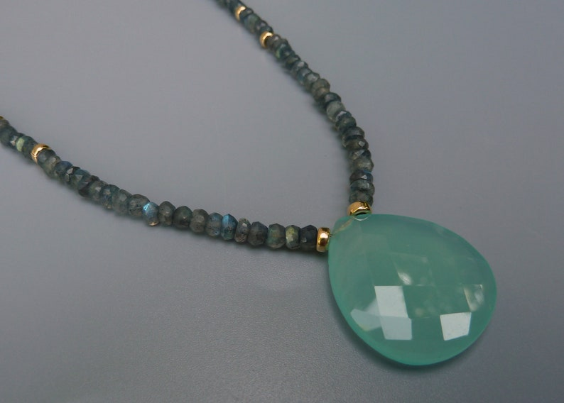 Labradorite Necklace Aqua Chalcedony Necklace Statement image 0