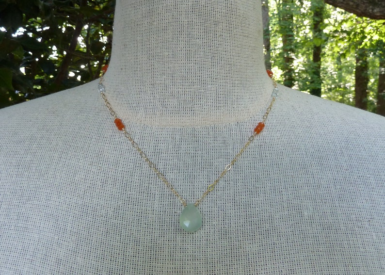 Chalcedony Pendant Chalcedony Necklace Gift For Her Under 50 Carnelian Necklace Aqua and Orange March Birthstone Statement Necklace