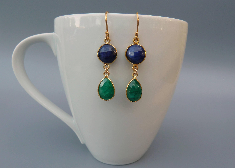 Sapphire Earrings Emerald Earrings Gemstone Drop | Etsy