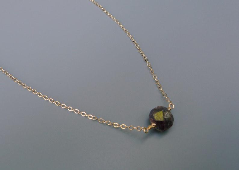 Raw Garnet NecklaceDainty Necklace Raw Gemstone image 0