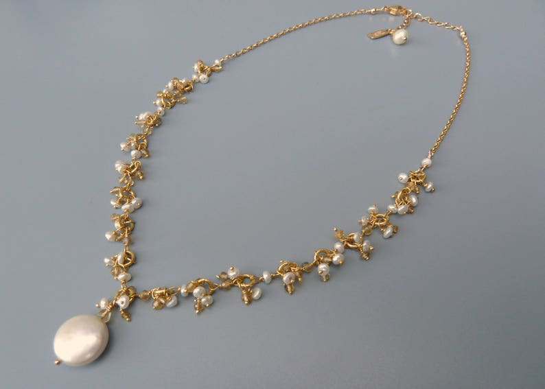 Dainty Pearl Necklace Dainty Citrine Necklace Gold Pearl image 0
