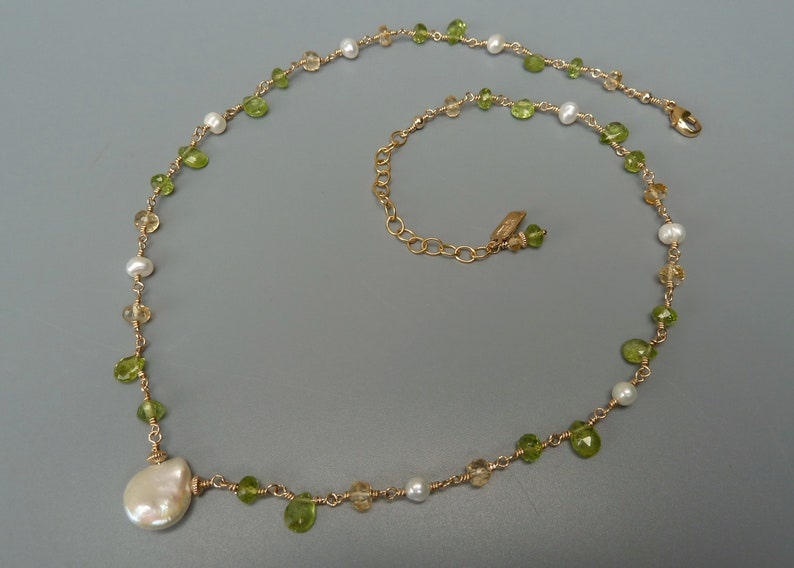 Peridot Necklace Pearl Necklace Green Gemstone Citrine image 0