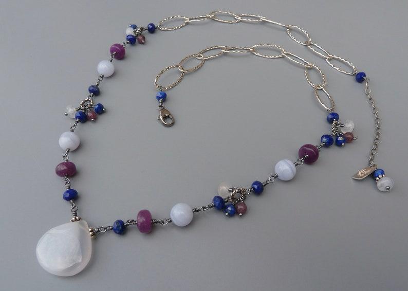 Blue Chalcedony NecklaceGemstone Pendant NecklacePurple image 0