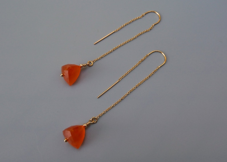 Orange Chalcedony Earrings Gold Threader Earrings Dainty image 0