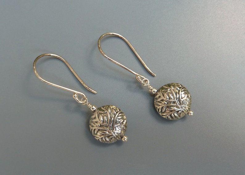 Floral Leaf Earrings Gift For Mom Holiday Gift For Her Silver Disc Earrings,Bali Silver Earrings Everyday Earrings Silver Drop Earrings