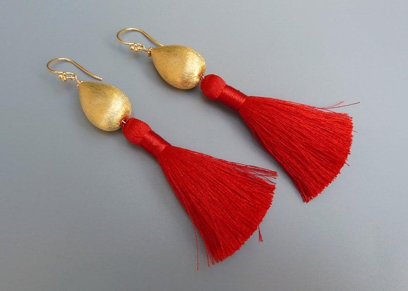 Tassel Earrings Red Tassel Earrings Designer Tassel image 0