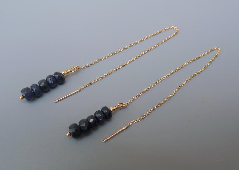 Sapphire Threader Earrings Gold Threader Earrings Sapphire image 0