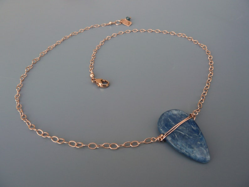 Kyanite Necklace Rose Gold Kyanite Dainty Chain Necklace image 0
